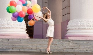 mood-girl-blonde-balls-balloons-colorful-colorful-smile-positive-happy-joy-celebration-dress-shoes-freshness-good-mood-street-city-background